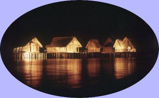 The Lake-Dwellings of Unteruhldingen at Night