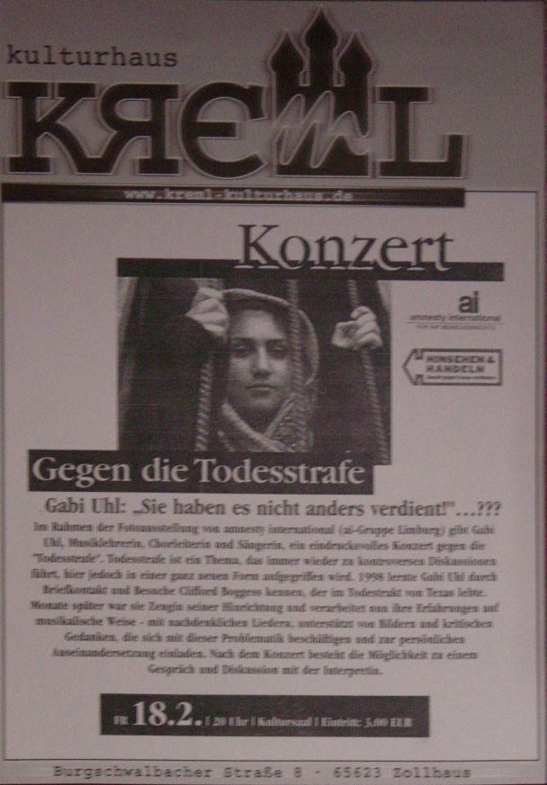 Plakat Konzert Zollhaus