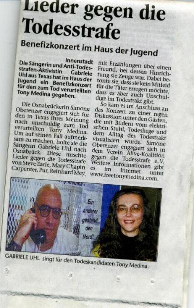Zeitungsartikel Konzert Osnabrück